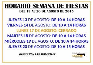 HORARIO FIESTAS 2015